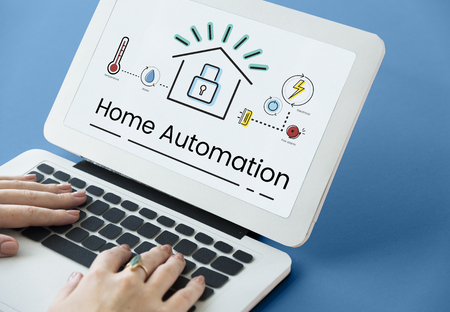 real estate house: Illustration of smart house invention automation technology on laptop