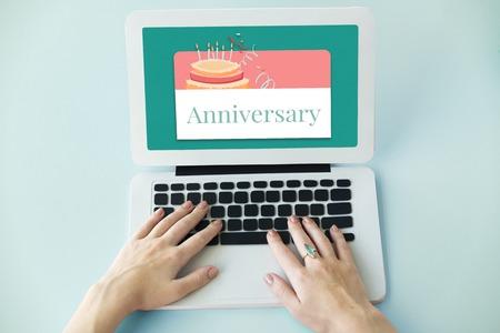 Illustration of birthday party event celebration with cake on laptop Stok Fotoğraf