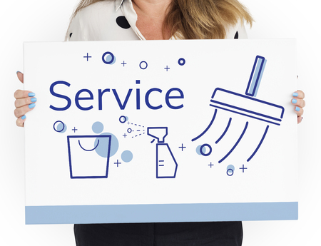 Illustration of home cleaning service on banner Stock Illustration - 82740292