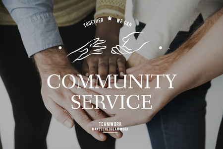 Helping Hands Volunteer Support Community Service Graphic Stock fotó - 82749555