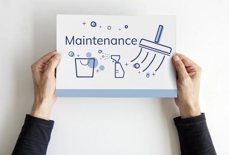Illustratie van schoonmaakdienst op banner Stockfoto