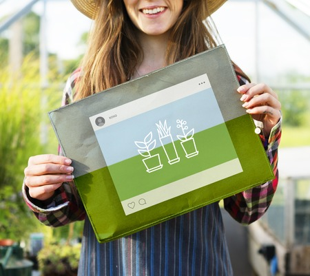 Woman holding network graphic overlay cloth