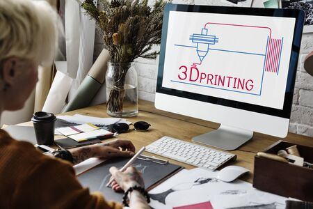Illustration of 3D printing craft innovation technology