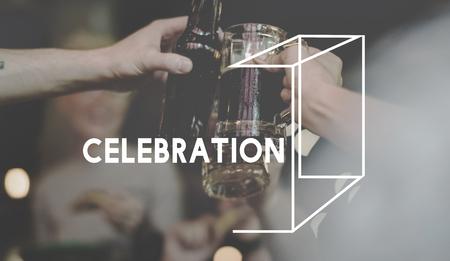 お祝い幸福乾杯ドリンク ビール Word グラフィック 写真素材