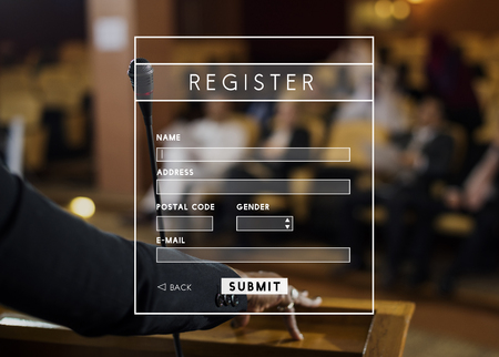 Register Username Account Summit Banner Stock Photo