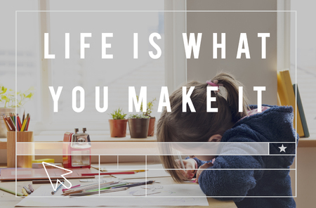 Life is What You Make It Word with Kid Background