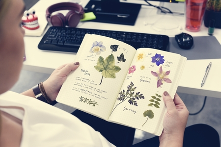Woman holding notebook with pressed flower