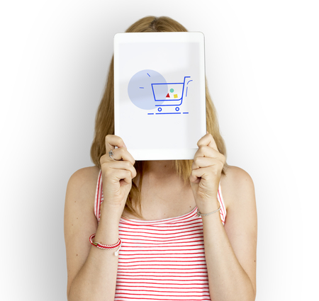 e commerce icon: Showing Cart Trolley Shopping Online Sign Graphic Stock Photo