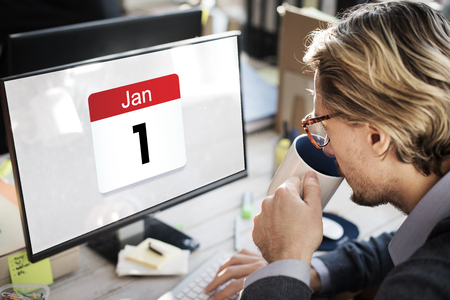 Illustration of first day of new year on calendar Stock Photo