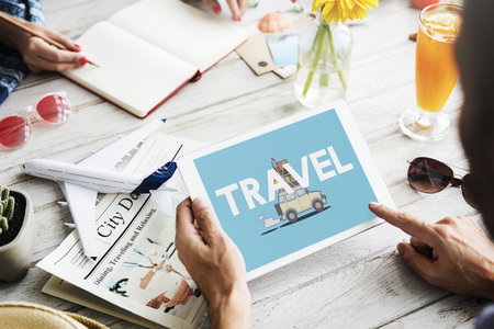 Illustration of discovery journey road trip traveling on digital tablet Stock Photo