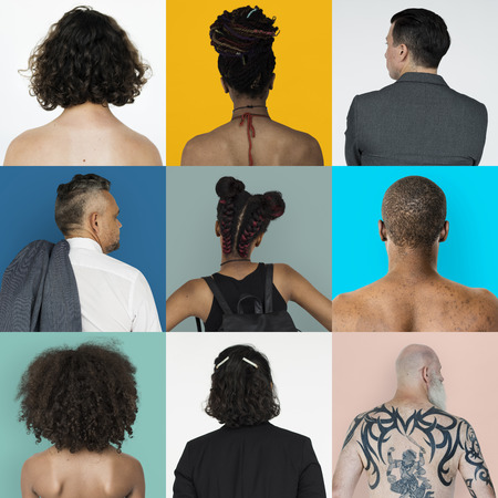 Collages diverse people backview concept