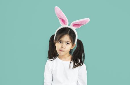 Little Girl Bunny Ears Silly Concept Stock Photo