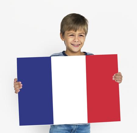 Man Hands Hold French France Flag Patriotism