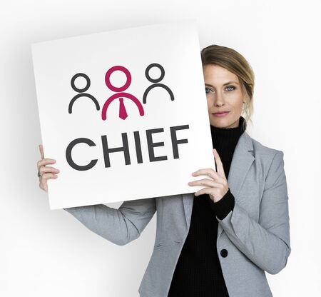 Businesswoman with illustration of leadership business organization