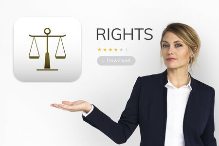 Businesswoman present law rights concept