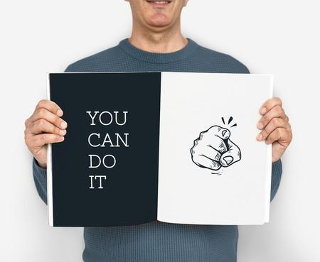 Ilustración del dedo apuntando con aspiraciones motivadas Foto de archivo - 82759288