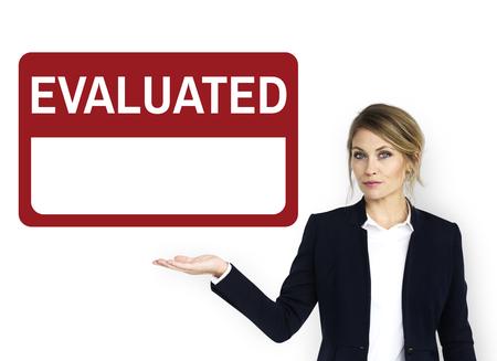 Geëvalueerde feedback beoordeling prestatie grafisch Stockfoto