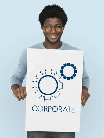 Verbinding Partnership Leadership Corporation Gear Icon Grafisch Woord Stockfoto