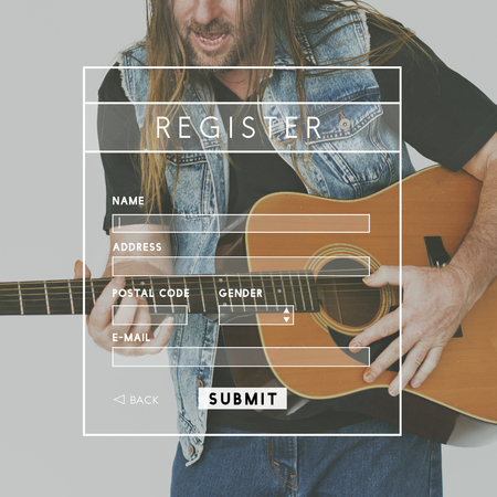 logon: Register Username Account Summit Banner Stock Photo