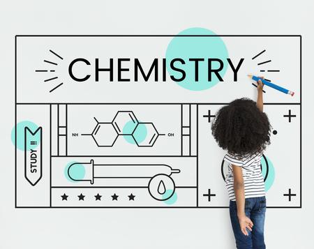 科学化学のイラストを小さな子供の実験的研究