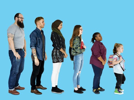 Various of diversity people full body set standing on background