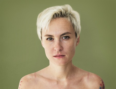Portrait of a shirtless woman