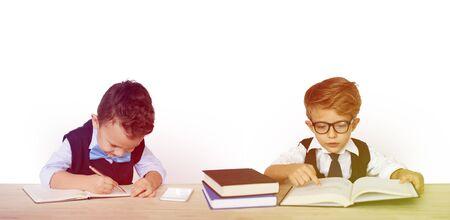 Kid Child Studio Shoot Learning Bookworm 版權商用圖片