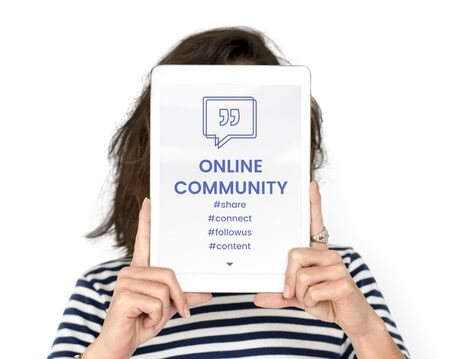 techie: Online Community Speech Bubble with Quotation Mark Stock Photo