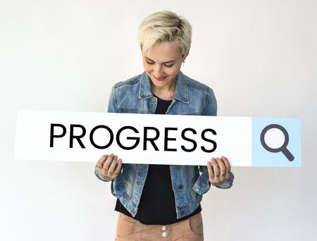 Woman holding search bar with development progress word Stock Photo