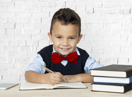 Little Boy Studious Smart Smile Stock fotó - 82875880