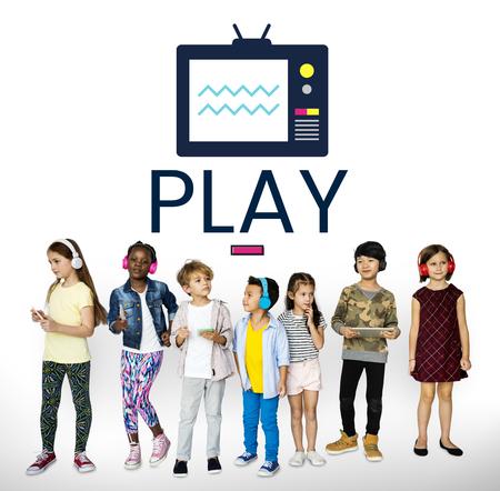 Children with illustration of TV broadcast media entertainment Stok Fotoğraf