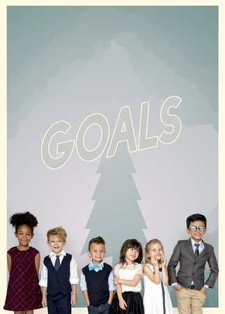 keep your hands: Group of school kids with aspiration word graphic Stock Photo