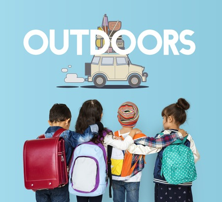 literacy: Children with illustration of discovery journey road trip traveling Stock Photo