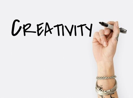 People Hand Writing Ideas Creativity  Design Word Stock Photo