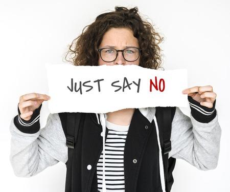Vrouw met banner netwerk grafische overlay Stockfoto - 82905568