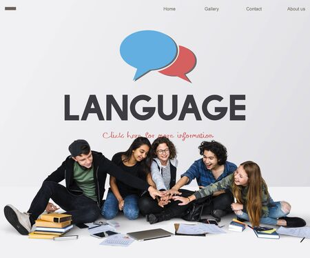 Group of teens together social technology concept Banco de Imagens - 82761091