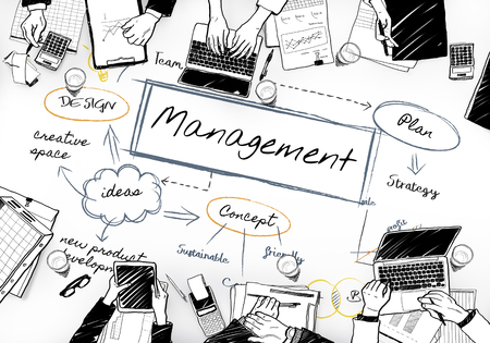 Business meeting illustration with management concept Stock Photo