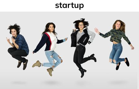Diverse of Young Adult People Jumping Studio Isolated Stock Photo