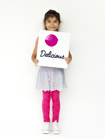 Girl with illustration of sweet candy lollipop Фото со стока