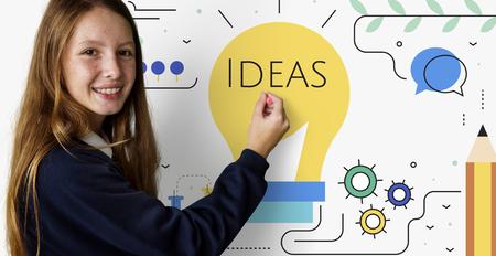 Girl with Illustration of creativity ideas light bulb