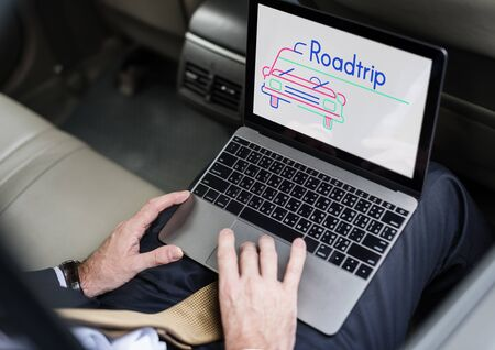 Illustration of automotive car rental transportation on laptop Stock Illustration - 82936605