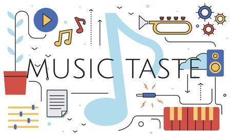 Music Taste Passion Lifestyle Word Graphic Reklamní fotografie