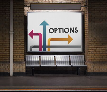Illustration of opportunities at turning point to be change on subway
