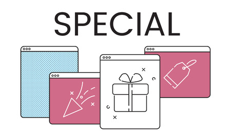 Illustration of anniversary celebration surprise interface Stock fotó - 82883548