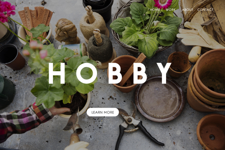 Hobby word on plants background