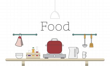 Illustration des Kochens Küche Küchenutensilien Standard-Bild - 82883644