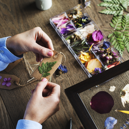 Dry flowers craft decorative on wooden table