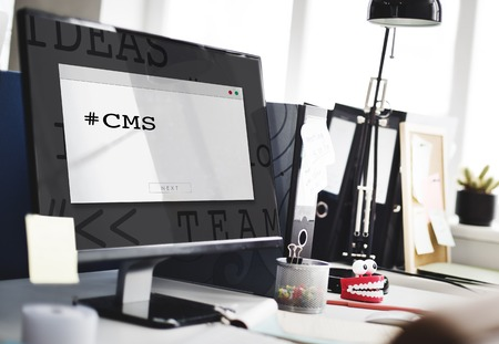 Cmputer Screen Show about Content Management System Word Stock Photo