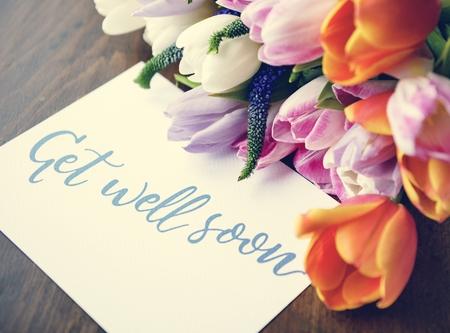 Get well soon message flower balance