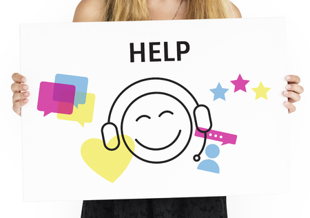Illustration of contact us online customer services on placard Stock Photo